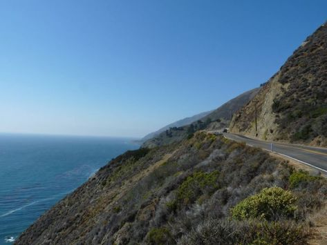 Road and Cliff Top View Pacific Ocean